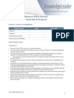 Balance Sheet Review Audit Work Program