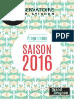 Programme saison artistique 2016