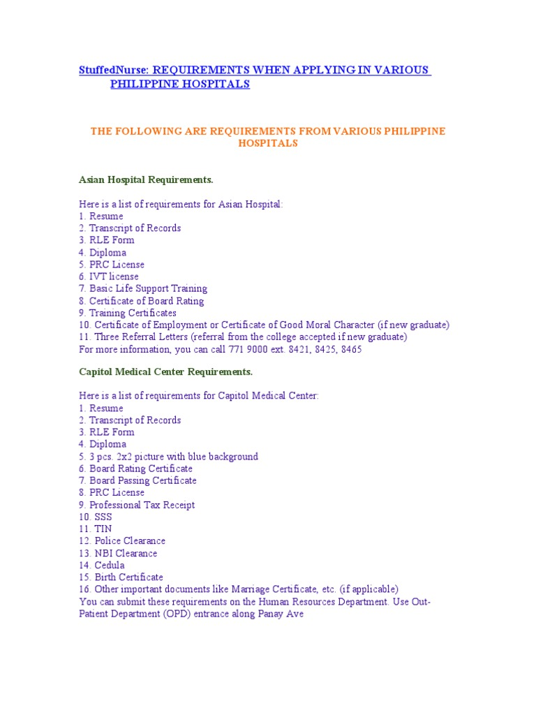 Requirements when applying for various philippine hospitals requirements when applying for various philippine hospitals nursing hospital yelopaper Gallery