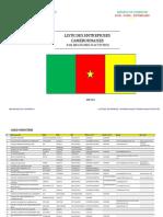 LISTE DES ENTREPRISES CAMEROUNAISES PAR BRANCHES D'ACTIVITES 2012