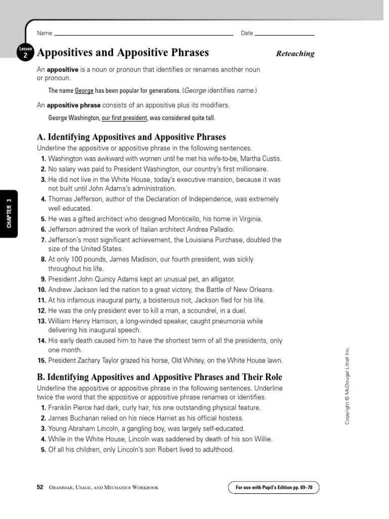 Worksheets Appositives Worksheet appositives 2 abraham lincoln thomas jefferson