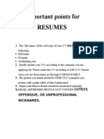 Important Points for RESUMES