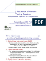 "Tadashi Kawai ""Quality Assurance of Genetic Testing Services"" Proposal from Japan"