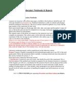 Laboratory Notebooks & Reports