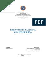 Trabajo Financiera Presupuesto Nacional y Gasto Publico