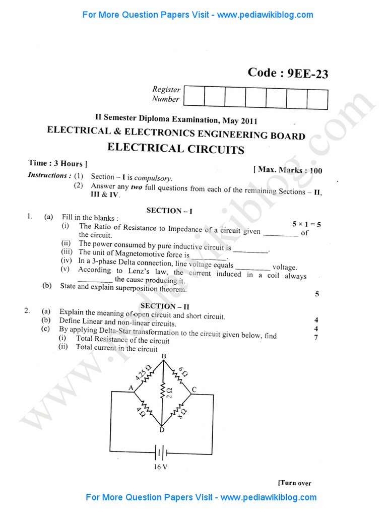 2nd Sem Dip Electrical Circuits May 2011pdf Inductor Inductance For The Parallel Circuit Shown Below Calculate Total Resistance