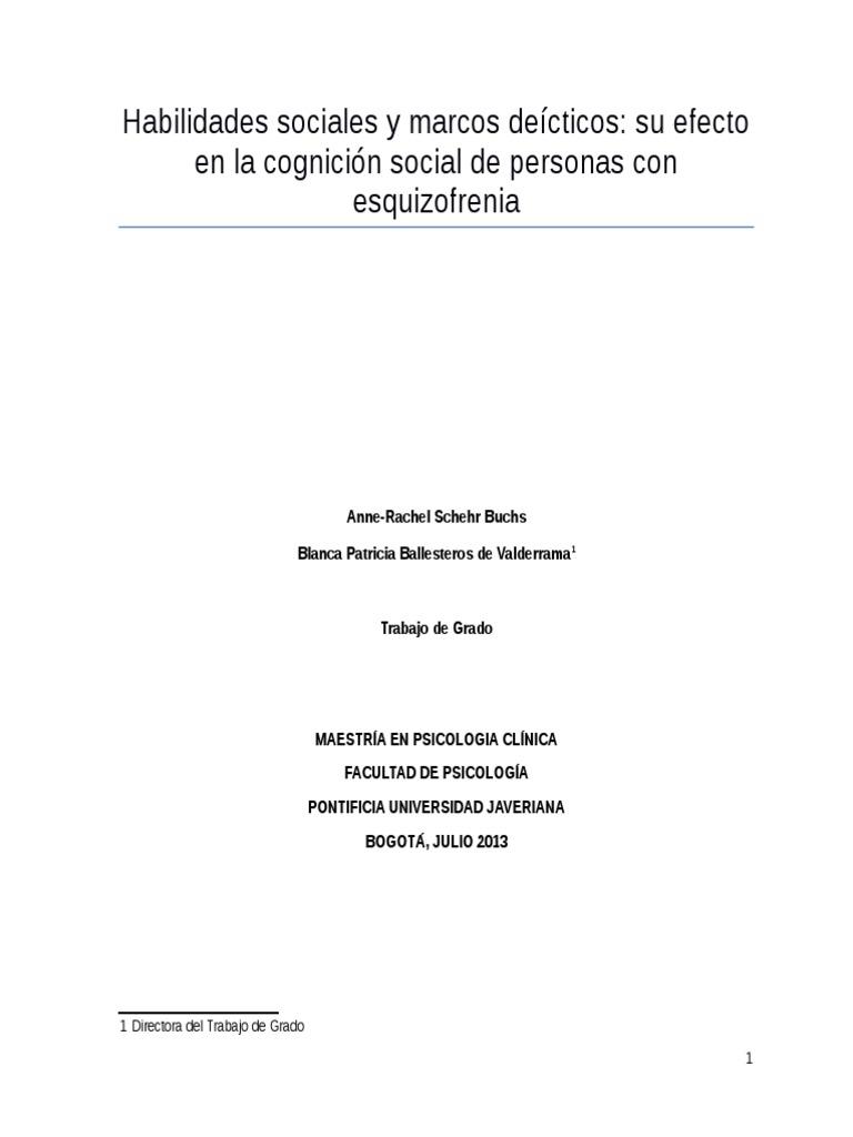 Habilidades Sociales y Marcos Deícticos Su Efecto en La Cognición ...