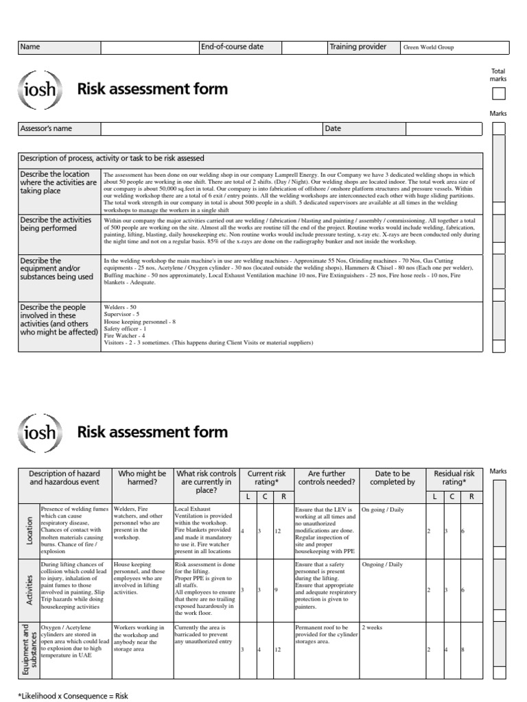 4.2_Risk Assessment Project   SAMPLE | Metal Fabrication | Welding  Process Risk Assessment Template