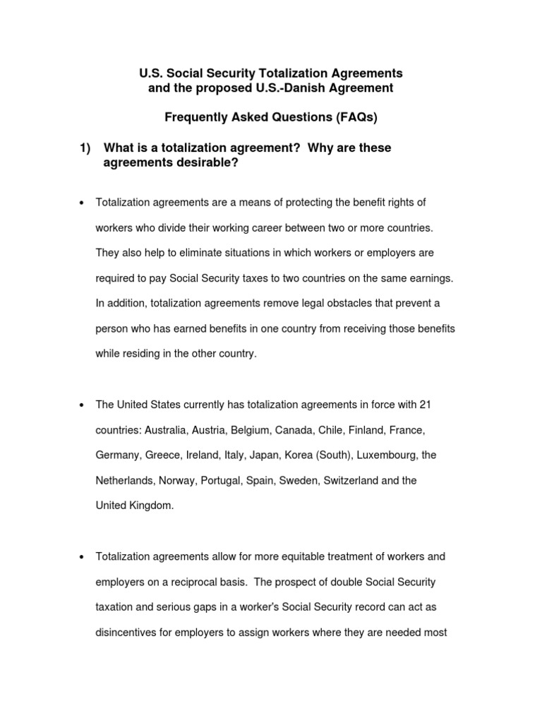 Totalization Agreement Faqs Social Security United States