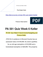 PA 581 Quiz Week 6 Keller