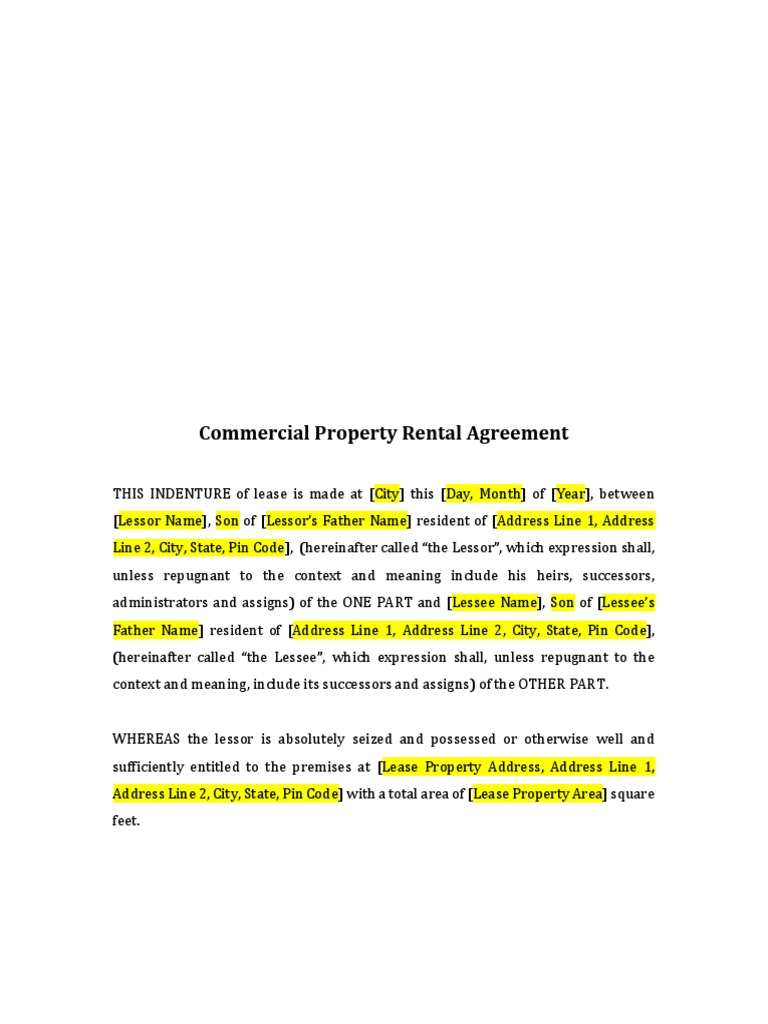 Commercial Property Rental Agreement Format Lease Private Law