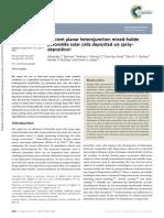 Efficient Planar Heterojunction Mixed-halide Perovskite Solar Cells Deposited via Spraydeposition