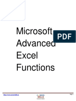 Free PDF Tutorial on Advanced Microsoft Excel Formula List