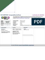 Wi-Fi Certified Interoperatibility Certificate