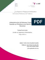 Administración de Sistemas Corporativos Basados en Windows 2012 Server Active Directory