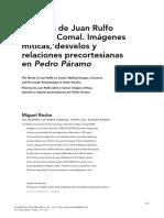 Palabras de Juan Rulfo sobre el Comal. Imágenes míticas, desvelos y relaciones precortesianas en Pedro Páramo
