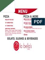 La Bella's Menu