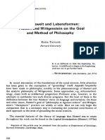 Earl Taylor -- Lebenswelt and Lebensformen- Husserl and Wittgenstein on the Goal and Method of Philosophy