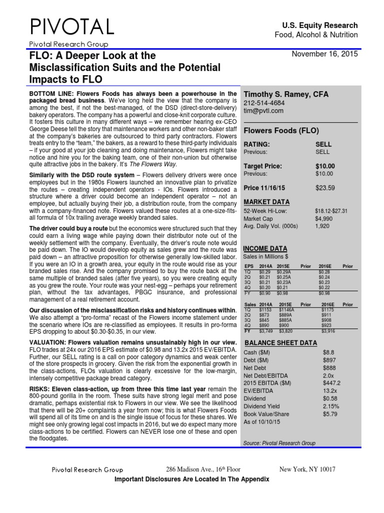 flowers foods report | employment | securities (finance)