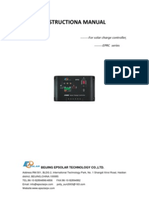 EPRC 12 Volt 10 Ampere Solar Charge Controller Manual | Battery