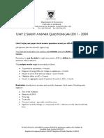 Unit 2 Short Ans Questions Jan 2011 - 2004