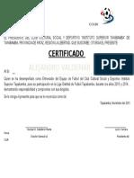 Certificado de Deporte