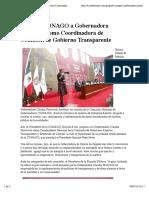 25-01-16 Propone CONAGO a Gobernadora Pavlovich como Coordinadora de Comisión de Gobierno Transparente. Canal Sonora