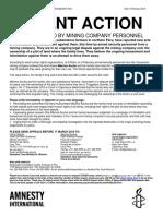 Acción Urgente de Amnistía Internacional sobre caso Máxima Acuña