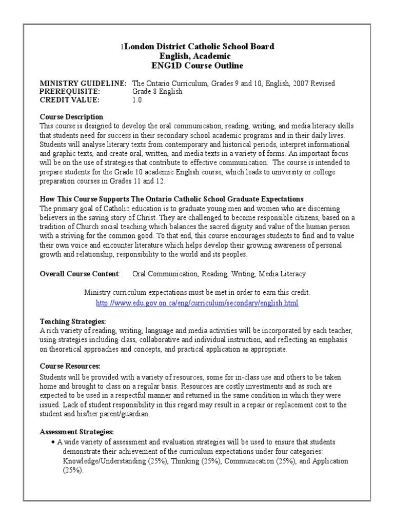 eng1d academic | English Studies | Curriculum