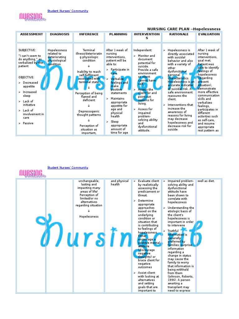 Nursing Care Plan for Hopelessness NCP | Nursing ...
