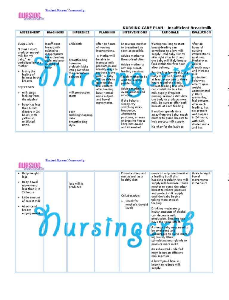 Nursing Care Plan For Insufficient Breastmilk Ncp  Breastfeeding