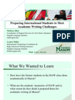 Preparing International Students to Meet Academic Writing Challenges -- results from a study @ George Mason University's ELI