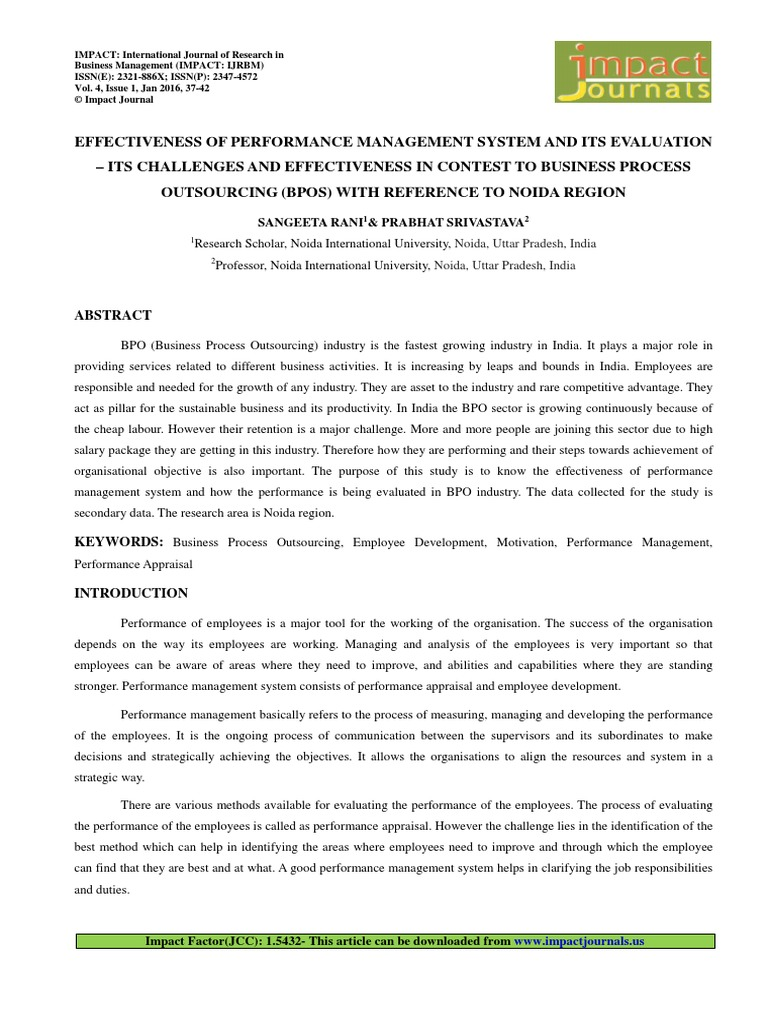 Effectiveness Of Performance Management System And Its Evaluation