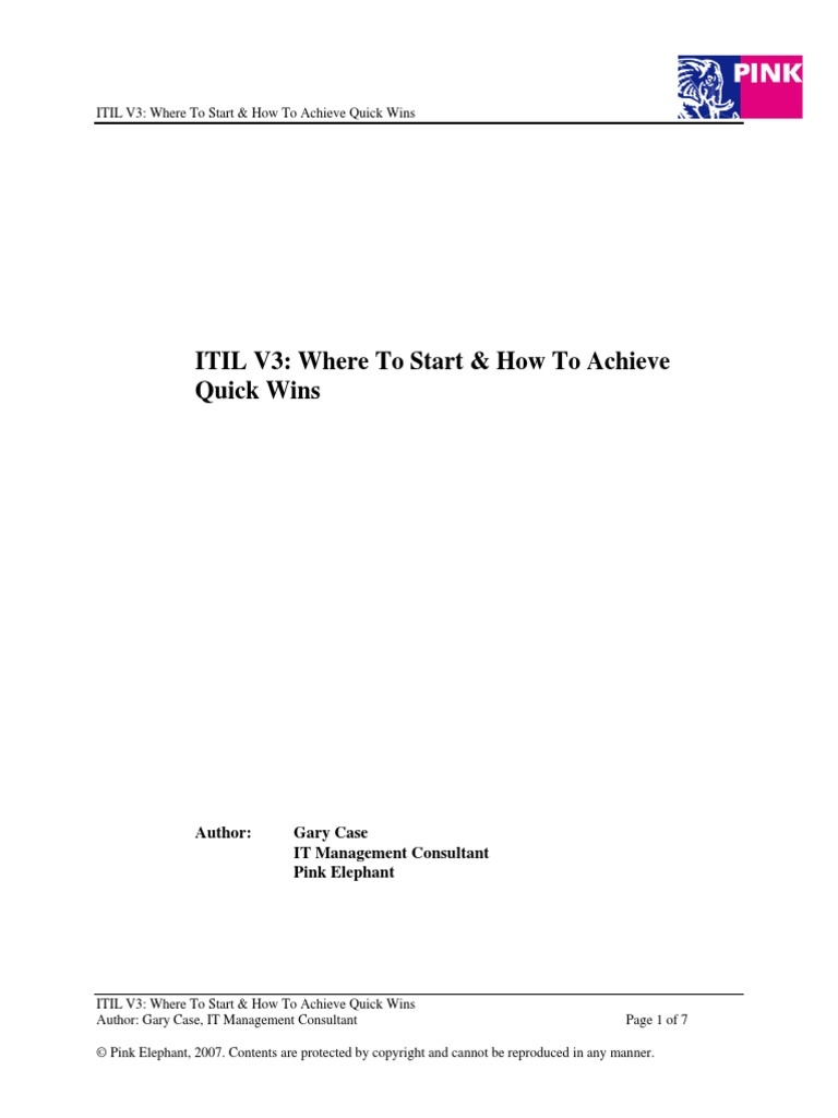 Itil V3 Where To Start How To Achieve Quick Wins Itil