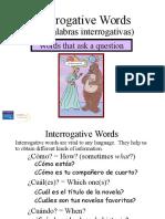 Spanish Question Words Powerpoint Presentation Palabras Interrogativas