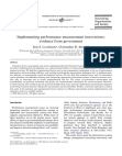 Implementing performance measurement innovations: evidence from government