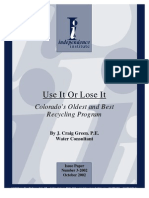 Use It Or Lose It Colorado's Oldest and Best Recycling Program