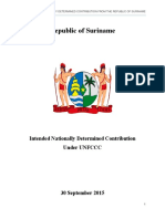 Suriname, Intended Nationally Determined Contribution under UNFCCC, September 2015 300915