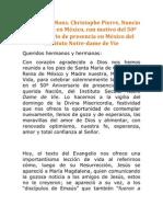 Homilía de Mons. Christophone Pierre, Nuncio Apostólico en México con motivo del 50 Aniversario de presencia en México del Instituto Notre dame de Vie