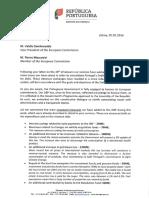 Carta enviada por Mário Centeno à Comissão Europeia
