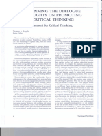 Beginning the Dialogue Thoughts on Promoting Critical Thinking