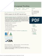 Call for Papers for the ELT Special Issue