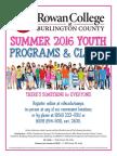 Rowan College at Burlington County Summer 2016 Youth Programs & Clinics