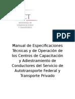 Manual de Especificaciones Técnicas y de Operación de Los Centros de Capacitación y Adiestramiento de Conductores Del Servicio de Autotransporte Federal y Transporte Privado