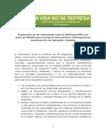 Argumentos de Las Comunidades Ante La Solicitud de MDL Por Parte de ISAGEN Para El Proyecto Hidroeléctrico Hidrosogamoso Santander