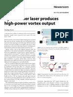 Optical fiber laser produce high power vortex output