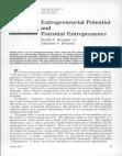 Entrepreneurial Potential And Potential Entrepreneurs Norris F Krueger, Jr