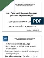 PPGEP - TP718 - Gestão de Projetos