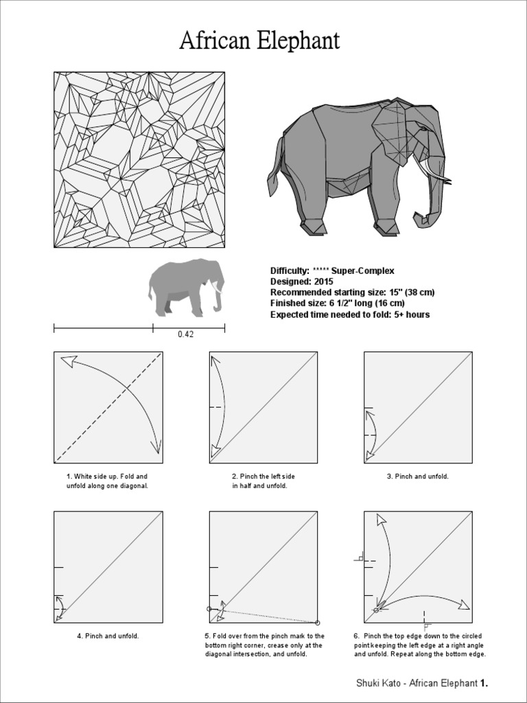 African Elephant Origami Diagram Wiring For Light Switch Advanced Fox Instructions Shuki Kato Rh Scribd Com Pattern Diagrams A To Z