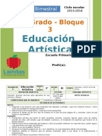 Plan 3er Grado - Bloque 3 Educación Artística (2015-2016)